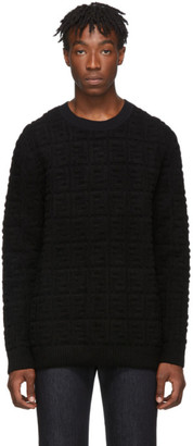 Fendi Black Embossed Wool Forever Sweater