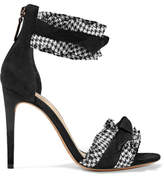 Alexandre Birman Lupita Ruffled Houndstooth Canvas-trimmed Suede Sandals - Black