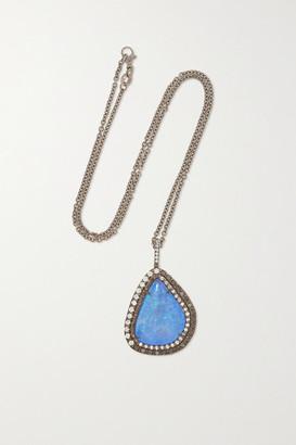 Kimberly + Net Sustain 18-karat Blackened White Gold, Opal And Diamond Necklace - one size