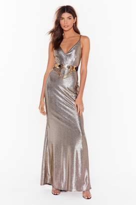 Nasty Gal Womens Back to You Metallic Maxi Dress - Gold