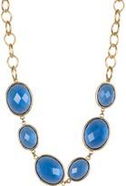 Rivka Friedman 18K Gold Clad Faceted Poppy Blue Crystal Station Satin Necklace