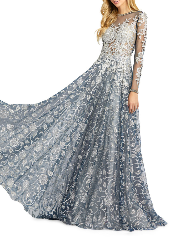 Mac Duggal Leaf Pattern Long-Sleeve A-Line Illusion Gown