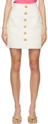 Balmain White Tweed Gitane Miniskirt