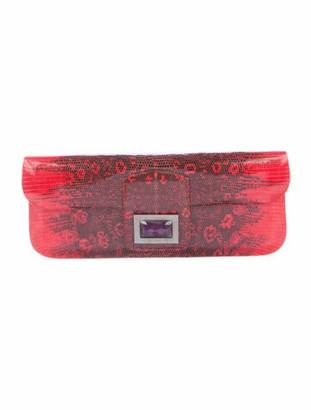 Kara Ross Crystal Embellished Lizard Clutch Red