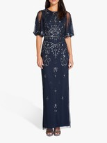Adrianna Papell Beaded Wide Sleeve Gown, Midnight