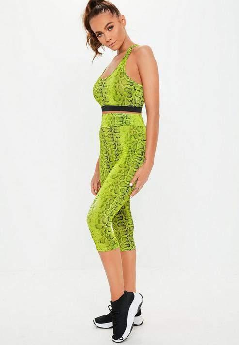 Active Lime Snake Print 3-4 Leggings