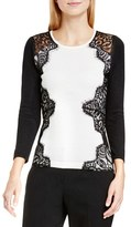 Vince Camuto Petite Women's Side Lace Trim Sweater