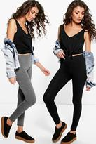Boohoo Rae Two Pack Basic Jersey Viscose Leggings