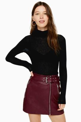 Topshop Womens Black Mesh Funnel Long Sleeve Top - Black