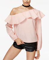 MinkPink On The Sly Ruffled One-Shoulder Top