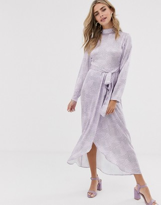 Dusty Daze maxi dress with high neck and belted waist in satin-Purple