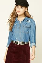 Forever 21 FOREVER 21+ Distressed Chambray Shirt