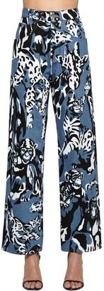 Krizia Printed Wide Leg Cotton Denim Jeans