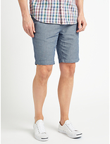 John Lewis Stripe Cotton Linen Chino Shorts, Navy