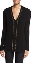 Derek Lam 10 Crosby Ribbed V-Neck Pullover Sweater, Black/Gold
