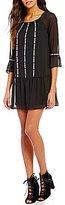Xtraordinary Novelty-Trimmed 3/4 Bell Sleeve Flounce Hem Dress
