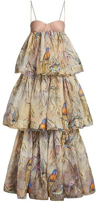 Zimmermann Candescent Parakeets Tiered Gown