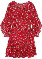 Maje Ruffled Floral-Print Crepe Mini Dress