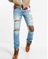 Express slim leg slim fit destroyed jeans