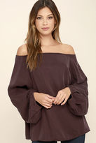 Do & Be Prevail Washed Burgundy Off-the-Shoulder Top