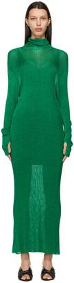 Balenciaga Green Metallic High Neck Dress