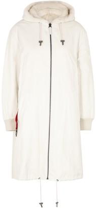 Yves Salomon Cream Reversible Shell And Fur Coat