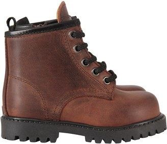 Gallucci Brown Ankle Boots For Kid With Logo