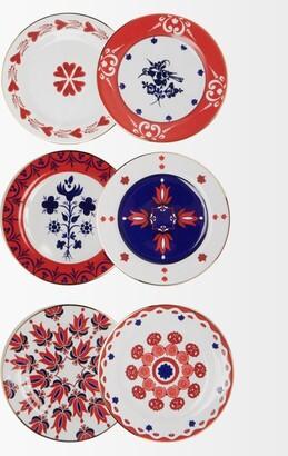La DoubleJ Set Of Six Transylvania Porcelain Dessert Plates - Blue Multi
