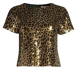 MICHAEL Michael Kors Women's Cheetah Sequin Crop Top