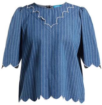 MiH Jeans Cowan Scalloped Cotton-chambray Blouse - Womens - Blue Stripe