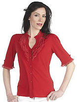 George Simonton As Is Milky Knit Button Front Top with Ruffle Detail