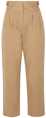 Loewe Leather-trimmed Herringbone Cotton Straight-leg Pants