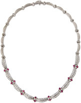 Diana M. Jewels 14k White Gold Curved Diamond & Ruby Link Necklace