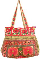 Changnoi Flowers Hmong Tote Bag Hill Tribe Embroidered Fabric Purse