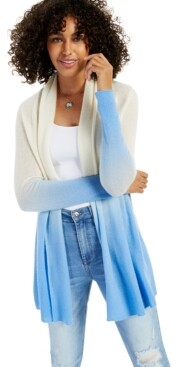 Charter Club Cashmere Dip Dye Long-Sleeve Rolled Edge Completer Sweater, Created for Macy's
