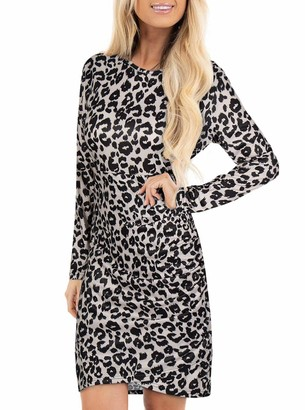 Moyabo Summer Dresses for Women Camouflage Print Long Sleeve Crew Neck Ruched Bodycon Tunic Dress Army Green XX-Large