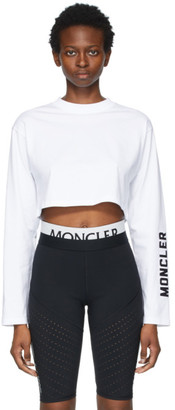 Moncler White Cropped Long Sleeve T-Shirt