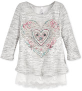 Beautees Layered-Look Lace Top, Big Girls (7-16)