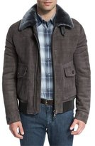 Brioni Plaid-Print Leather Bomber Jacket w/Shearling Lining, Multi