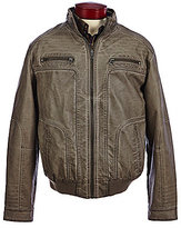 Roundtree & Yorke Faux-Leather Distressed Bomber Jacket