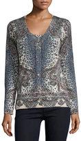 Neiman Marcus Superfine Bohemian Leopard Button-Front Cardigan
