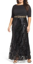 Mac Duggal Plus Size Women's Embellished Mixed Media Gown