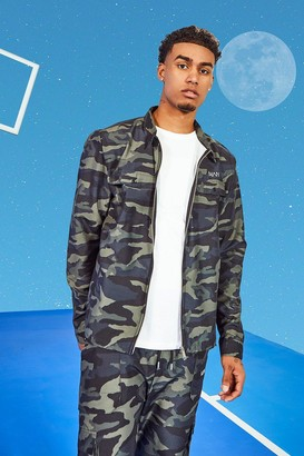 boohoo Mens Multi Tall Twill Camo Harrington Jacket With Bungee Cords, Multi