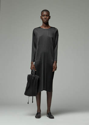 Pleats Please Issey Miyake Women's Long Sleeve October Dress in Black Size 4 100% Polyester
