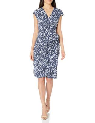 Lark & Ro Amazon Brand Classic Cap-sleeve Wrap Dress Mini Floral S