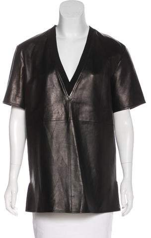 Givenchy Leather V-Neck Top