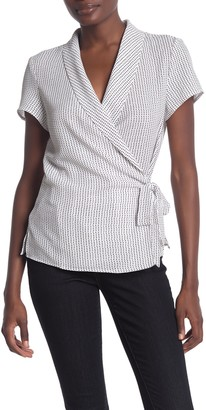 Adrianna Papell Patterned Crepe Side Tie Blouse
