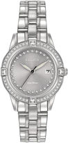 Citizen Eco-Drive Silhouette Womens Crystal-Accent Stainless Steel Bracelet Watch FE1150-58H