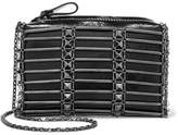 Valentino Studded Grid Glossed Textured-leather Shoulder Bag - Black