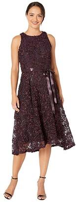 Tahari ASL Petite Sleeveless Soutache Lace Midi Dress with Ribbon Sash (Eggplant) Women's Clothing